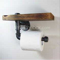 Industrial Urban Style Galvanised Steel Pipe Reclaimed Wood Toilet Roll Holder Bathroom Towel Rrack, Ttoilet Paper-J011 2017 - £39.35