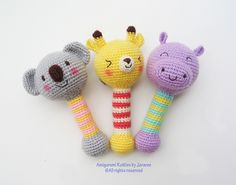 Amigurumi Rattles by Jaravee Crochet baby rattle inspo (no pattern) Crochet Baby Toys, Crochet Amigurumi, Crochet For Kids, Amigurumi Doll, Amigurumi Patterns, Diy Crochet, Crochet Crafts, Crochet Dolls, Baby Knitting