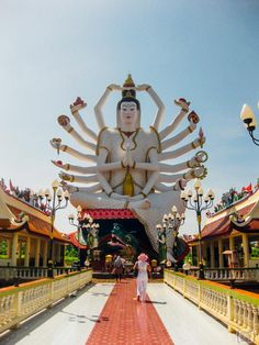 Chinese style Guanyin statue with 18 arms at Wat Plai Laem, Koh Samui, Thailand. Astrogeographic position: creative, innovative, spiritual air sign Aquarius sign of the ky, heaven, self-finding, liberation, reconnection with the fuller potentials and  earth sign Virgo sign of reason, hinduistic yoga culture, meditation, celibacy, monkhood. FL 4.
