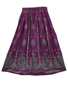 "Lehenga Print Sequin Skirt Hand Work Rayon Purple Long Skirts 36"""