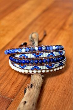 """Bracelet wrap d'Enjoy Wrap modèle """"Blue-Jean"""" en pierres semi prècieuse"""