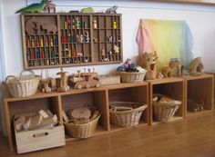Reorganized Cubbies by Amy Wonder Years Waldorf Playroom, Montessori Playroom, Waldorf Toys, Reggio Inspired Classrooms, Reggio Classroom, Classroom Design, Play Spaces, Learning Spaces, Cubbies