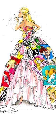 barbie fashion illustration by Robert Best Fashion Quotes, Fashion Art, Fashion Design, Style Fashion, Fashion Ideas, Beautiful Sketches, Beautiful Beautiful, Illustration Sketches, Fashion Illustrations