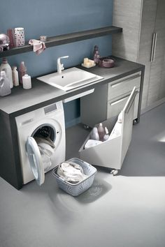 Small utility room ideas - If your home isn't blessed with a massive area to clean and fold your garments don't fret. Every one of these room ideas-- with integrated storage pointers-- will aid you take advantage of what you do have. Laundry Cupboard, Laundry Room Cabinets, Laundry Room Bathroom, Laundry Closet, Laundry Room Storage, Small Bathroom, Laundry Rooms, Ikea Laundry, Basement Laundry