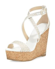 Portia Woven Crisscross Wedge Sandal, White/Marble by Jimmy Choo at Neiman Marcus.