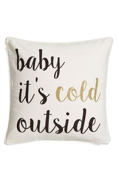 Staying inside and cuddling up with this soft cotton pillow featuring glittery scrolling text.