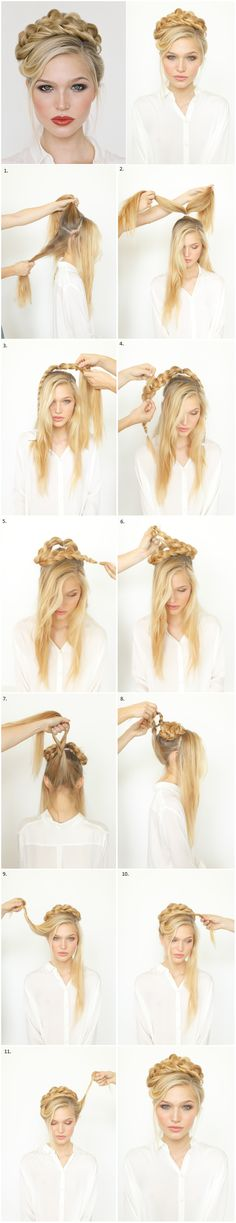 Worthy: 6 Summer Wedding Hairstyles Here's a stunning DIY rope braid updo from OnceWed that's positively breathtaking.Here's a stunning DIY rope braid updo from OnceWed that's positively breathtaking. Latest Hairstyles, Hairstyles With Bangs, Braided Hairstyles, Cool Hairstyles, Feathered Hairstyles, Braided Updo, Updos Hairstyle, Brunette Hairstyles, Asymmetrical Hairstyles
