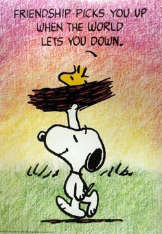 Friendship picks you up when the world lets you down. Snoopy the beagle of Charlie Brown, and his yellow bird friend #Woodstock