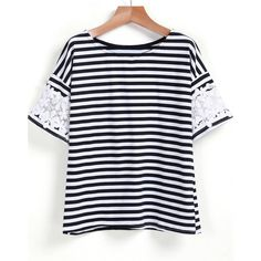 SheIn(sheinside) Black White Lace Short Sleeve Striped T-Shirt ($12) ❤ liked on Polyvore featuring tops, t-shirts, multi, black and white striped t shirt, stripe t shirt, stripe tee, lace tee and lace top