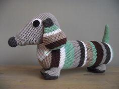 Teckel Crochet Animals, Crochet Toys, Free Crochet, Knit Crochet, Amigurumi Toys, Softies, Daschund, Knit Patterns, Cross Stitching
