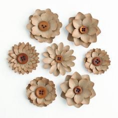 Recycled BROWN BAG Layered FLOWERS  7 count by PapersAndPetals, $3.00