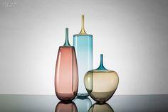 Needle-nose Incalmo vessels in hand-blown glass by Vetro Vero.