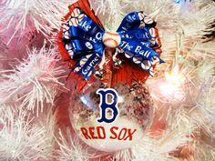 Boston Red Sox MLB Baseball Team Hand Painted Custom Christmas Glass Ornament Ball. $16.99, via Etsy.