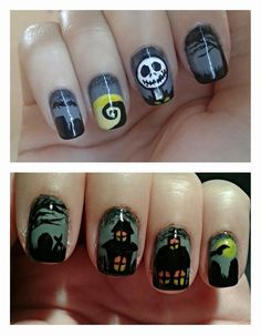 The Nightmare Before Christmas Halloween nail art
