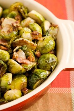 Roasted Brussels Sprouts with Bacon and Pecans