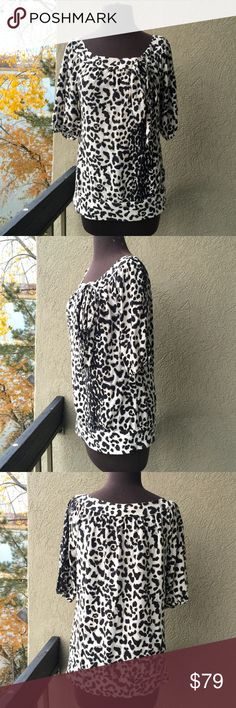 ❗️White House Black Market 100% SILK top $189! ❗️LAST CHANCE❗️White House Black Market 100% SILK animal print top with tie. Retails $189! Excellent condition! Size small. Feel free to make an offer! I am selling to the first reasonable offer I receive ;-) Or enjoy 30% off bundles using the bundle feature! My Fall Cleanout Sale is ending soon-all items must go! ;-) White House Black Market Tops
