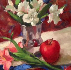 """Daily Paintworks - """"Astros & Apple"""" by Krista Eaton"""