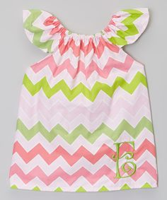 2a1417024a Another great find on Pink   Green Zigzag Initial Dress - Infant