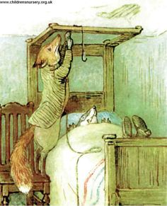 The Tale of Mr. Tod - Mr. Tod gingerly mounted a chair by the head of the bedstead