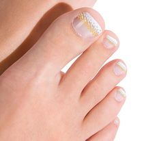 rhinestones and french toenail art