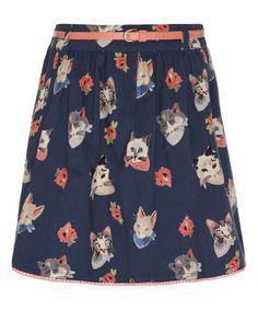 Look what I found on #zulily! Navy & Coral Kitten Belt Skirt - Girls by Yumi Girls #zulilyfinds