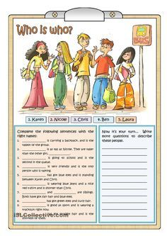 Who is who. ESL / EFL / ESOL game for practicing descriptions, comparatives and superlatives.
