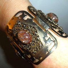 '50s Selro bracelet confetti Lucite stones gold tone open work MOTHERS DAY GIFT! #Selro #CuffVintageMidCenturyRockabillyRetro
