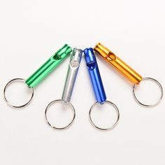 1Pcs Aluminum Emergency Survival Whistle Keychain For Camping Hiking Outdoor Sport Tools Color Random