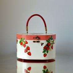 Vintage MCM Box Purse Summer Strawberries & Gingham in Original Pogue's Store Box