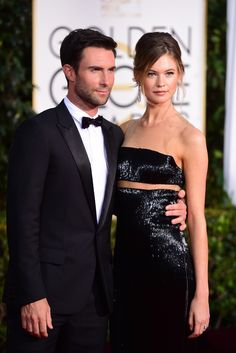Adam Levine with Behati Prinsloo in KaufmanFranco. [Photo by Tyler Boye]
