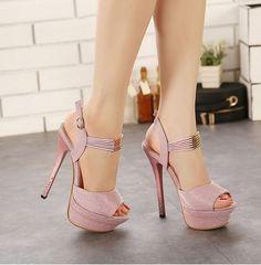 Trendy Fashion Design High Heel Button Shoes