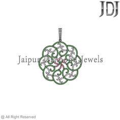 Multi-Color Gemstone 925 Sterling Silver  Filigree Design Handmade Charm Pendant #Handmade #Pendant