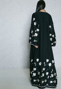 Shop Hayas Closet black Embroidered Trim Abaya AWN-402 for Women in UAE
