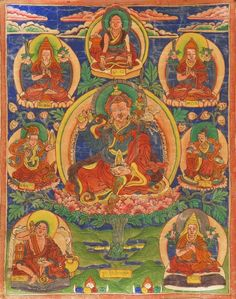 "THANKA 19th Century <br /> With seated lama and seven Bodhisattvas. Tibetan inscription at base. 14"" x 11"" (35.5 cm x 28 cm).  <br /> <i>Ex Collection: Georgia Cash.</i>"