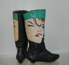 80s Avant Garde leather smoking lady LJ Simone Boots 7 on ebay~♛