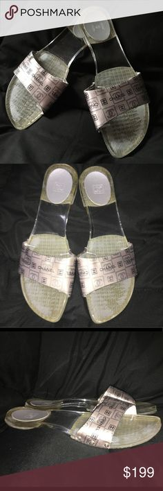 Pre Black Friday shoe sale!!! Chanel sandals Cute plastic Chanel sandals used but in great condition CHANEL Shoes Sandals