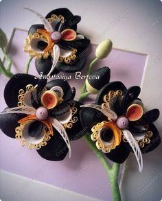 Картина панно рисунок Квиллинг Чёрная орхидея Бумажные полосы Проволока фото 2