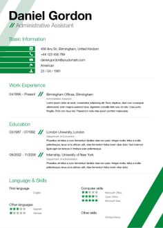 resume layout Resume and cover letter examplesSortPinterest