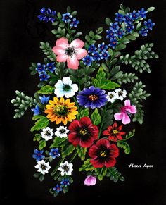 Mixed Flowers . Hazel Lynn Folk Art Flowers, Flower Art, Black Canvas Paintings, Canvas Art, Tole Painting, Fabric Painting, Art Floral, Donna Dewberry Painting, Polka Dot Art