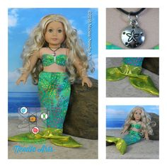 Green mermaid outfit by NuclearNeedleArts on Etsy. Made following A Mermaid Tale pattern. Get it here http://www.pixiefaire.com/products/a-mermaid-tale-18-doll-clothes. #pixiefaire #amermaidtale