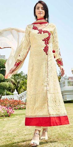 Delightful Cream Georgette Designer Straight Salwar Suit With Dupatta.