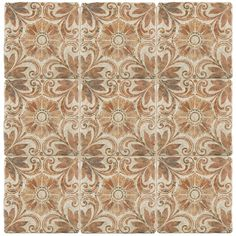 Merola Tile Costa Arena Decor Dahlia Encaustic in. Ceramic Floor and Wall Tile sq. / - The Home Depot Ceramic Subway Tile, Glass Subway Tile, Ceramic Flooring, Bathroom Flooring, Wall And Floor Tiles, Wall Tiles, Feature Tiles, Wood Look Tile, Wall Installation