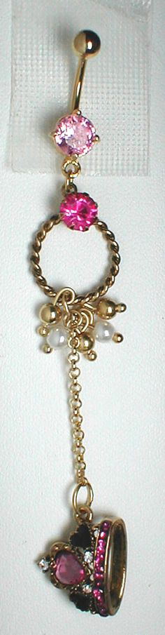 Unique Belly Ring - Betsey Johnson Crown from the Royal Engagement Pendant On A Belly Ring. $10.95, via Etsy.