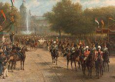 Het Frederiksplein te Amsterdam tijdens de intocht van koningin Wilhelmina, 5 september 1898, Otto Eerelman, 1898 - 1900
