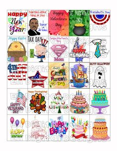 These Holiday stickers fit perfectly in the weekly squares on the Erin Condren Life Planner.    This item is a DIGITAL DOWNLOAD, so no items