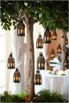 To decorate an outside area oriental themed lighting looks brilliant. Hanging the lanterns from trees is effective and looks beautiful.