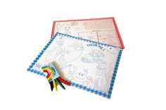 Caja fun Box, dispensadora de manteles, Mantelitos, caja lápices, lapices de cera, papel para colorear