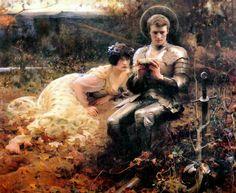 Arthur Hacker (1858-1919), The Temptation of Sir Percival – 1894