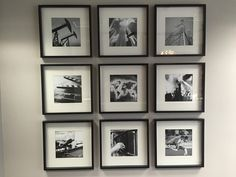 grid of 9 black and white photos on wall Small Tables, Hanging Art, Home Look, Grid, Photo Wall, Gallery Wall, Black And White, Interior Design, Create