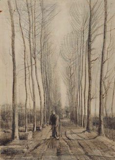 "https://www.facebook.com/VincentvanGogh.MiaFeigelson.Gallery  ""Avenue of poplars"" (Nuenen. March 1884) [F 1239] By Vincent van Gogh, from Zundert, Netherlands (1853 - 1890) - pencil, pen and brown ink (originally black); 54.2 x 39.3 cm - Place of creation: Nuenen, Netherlands © Van Gogh Museum, Amsterdam  (Vincent van Gogh Foundation) http://www.vangoghmuseum.nl/ https://www.facebook.com/VanGoghMuseum"
